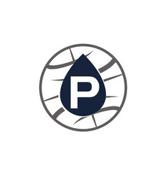 Water oil world letter p vector