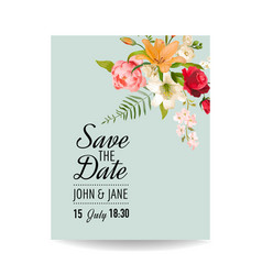 Wedding card with watercolor lily flowers vector