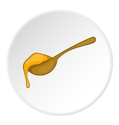 Wooden spoon with honey icon cartoon style vector image