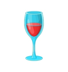 Glass of red wine icon cartoon style vector