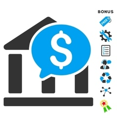 Bank message flat icon with bonus vector