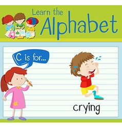 Flashcard letter c is for crying vector
