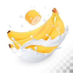 Yellow banana in a milk splash on a transparent vector