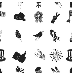 Patriot day pattern icons in black style big vector