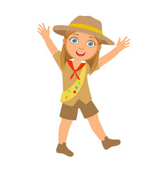 happy scout girl raising her arms up a colorful vector image