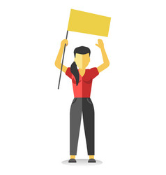 Striking woman holds empty yellow banner above vector
