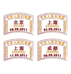 China passport stamps vector