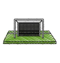 Color crayon stripe cartoon soccer goal in grass vector