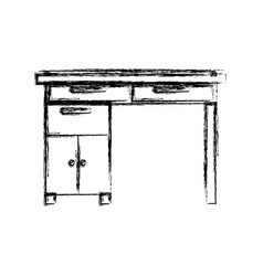 Monochrome blurred silhouette of wooden home desk vector