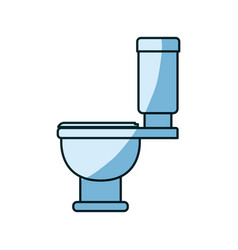 Blue shading silhouette of toilet icon side view vector