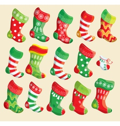 Set of various christmas stockings vector