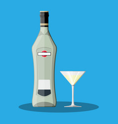 Vermouth bottle with glass vermouth alcohol drink vector