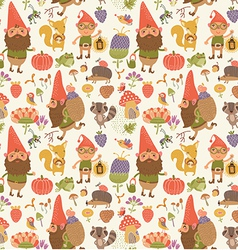 Seamless pattern with cute gnomes vector