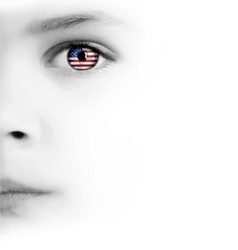 Childs face eye and american flag vector