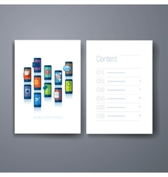 Modern mobile apps flat icon cards design template vector image