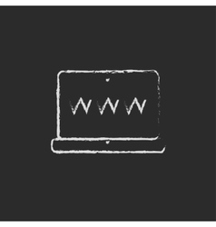 Laptop screen drawn in chalk vector
