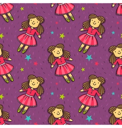 Seamless pattern with cute doll in pink dress vector