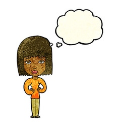 Cartoon woman indicating self with thought bubble vector