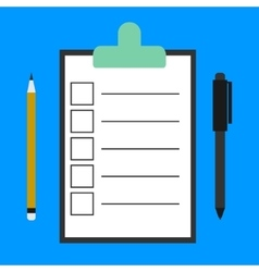 Paper clipboard and a pen icon vector image
