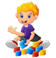 Little boy play bricks vector