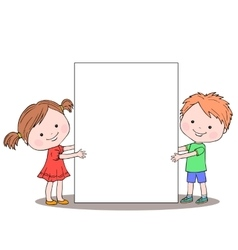 Girl and boy keeping empty sheet of paper vector