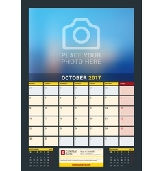 October 2017 wall calendar for 2017 year vector