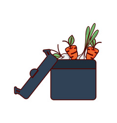 Beet carrots and onion inside of pot vector