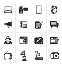 Black Communication and Technology icons vector image