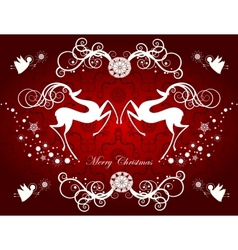 Christmas card with reindeers and snowflakes vector