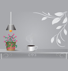 coffee cup placed under the lamp with gray vector image