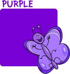 Color Purple and Butterfly Cartoon vector image vector image