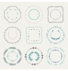 Colorful hand sketched frames borders design vector