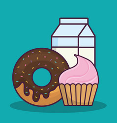 Cupcake and donut icon vector
