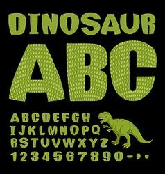 Dinosaur ABC Font of prehistoric reptile Green vector image vector image