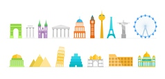 Famous buildings color silhouettes collection vector image vector image