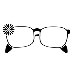 Female glasses flower decorative pictogram vector