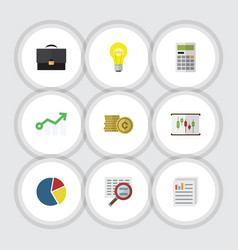 Flat icon incoming set of calculate document vector