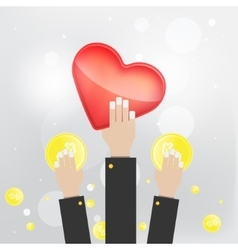 Flat style hand saving money time heart vector image