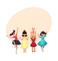 Four various girls in colorful dresses having fun vector