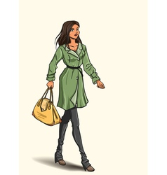 Girl in autumn dress vector image vector image