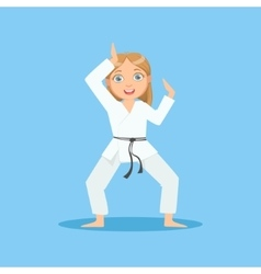 Girl in white kimono demontrating starting stance vector