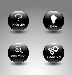 Icons representing the problem solving process vector