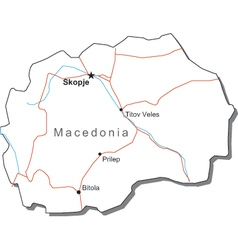 Macedonia Black White Map vector image vector image