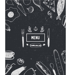 Menu cover with hand drawn food Black and white vector image vector image
