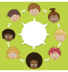 networking kids vector image vector image