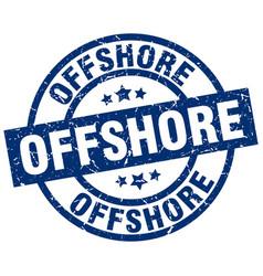 Offshore blue round grunge stamp vector