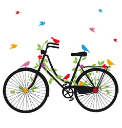 old bicycle with birds vector image vector image