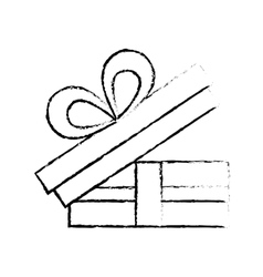 open gift box bow ornament celebration sketch vector image