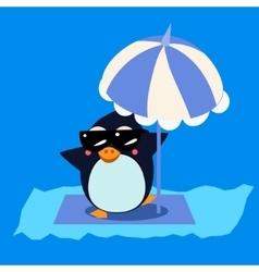 Penguin with Umbrella on the Iceberg vector image