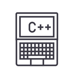 programming coding c plus line icon sign vector image vector image